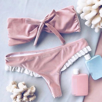 PLAVKY 2017 Cute Sexy Pink Velvet Bow Knot Bandeau Biquini Ruffle Swim Bathing Suit Swimsuit Swimwear