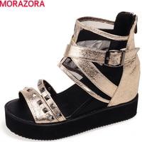 MORAZORA pu + מסמרות אישה הקיץ של נעלי אופנה נעלי פלטפורמת סנדלי טריזי נעלי פנאי מוצק רוכסן העקב הי 4 ס