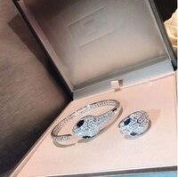 100% Серебро фианит AAAA Кристалл Двойной Ссылка змея животных браслет браслеты кольцо Набор для женщин