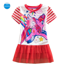JUXINSU New Summer Little Pony Lace Girls Short Sleeve Dresses My Pony Cartoon Dress for Baby Girl 1-8 Years samgami baby new summer cute dress little girls dress my pony spring girl short sleeve dresses my girls princess for little pony