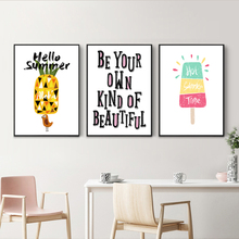 Nordic Cute Cartoon Fruit Pineapple Ice Cream English Sentence A2 A3 A4 Canvas Art Abstract Poster Picture Bedroom Decoration