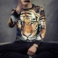 Nova moda Outono Primavera dos homens hip hop fresco Tiger animal 3D Pub Festa de impressão de manga comprida t camisa casual Tee roupas M-5XL
