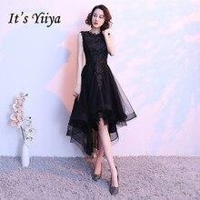 Это YiiYa маленькое черное платье без рукавов с вырезами, на шнуровке, коктейльное платье неравномерной длины Чай Длина торжественное платье вечерние платья MX014