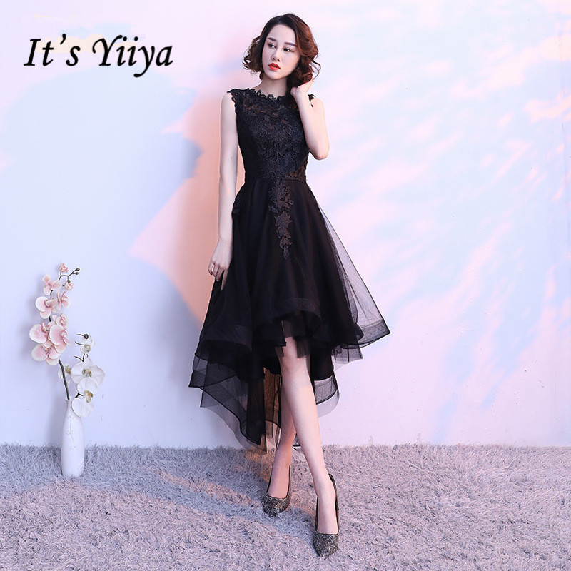It's YiiYa Little Black Sleeveless Cut-Out Lace   Cocktail     Dress   High-Low Tea Length Formal   Dress   Party Gown MX014