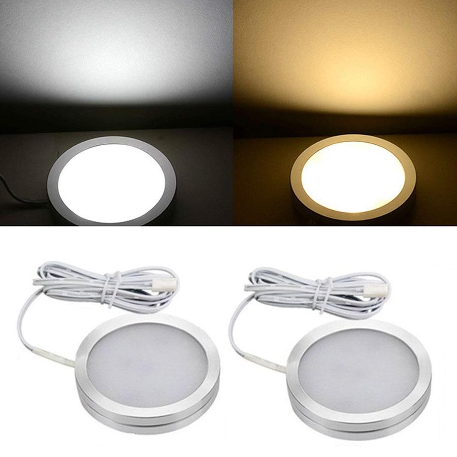 Regulable 2,5 W DC12V LED bajo el armario luz aluminio LED vitrina luces para encimera de cocina armario luces Puck 5 uds 4mm/0,16