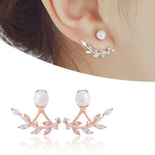 925 pure silver stud earring neckband kalyptolith leaves pearl sweet gift anti-allergic