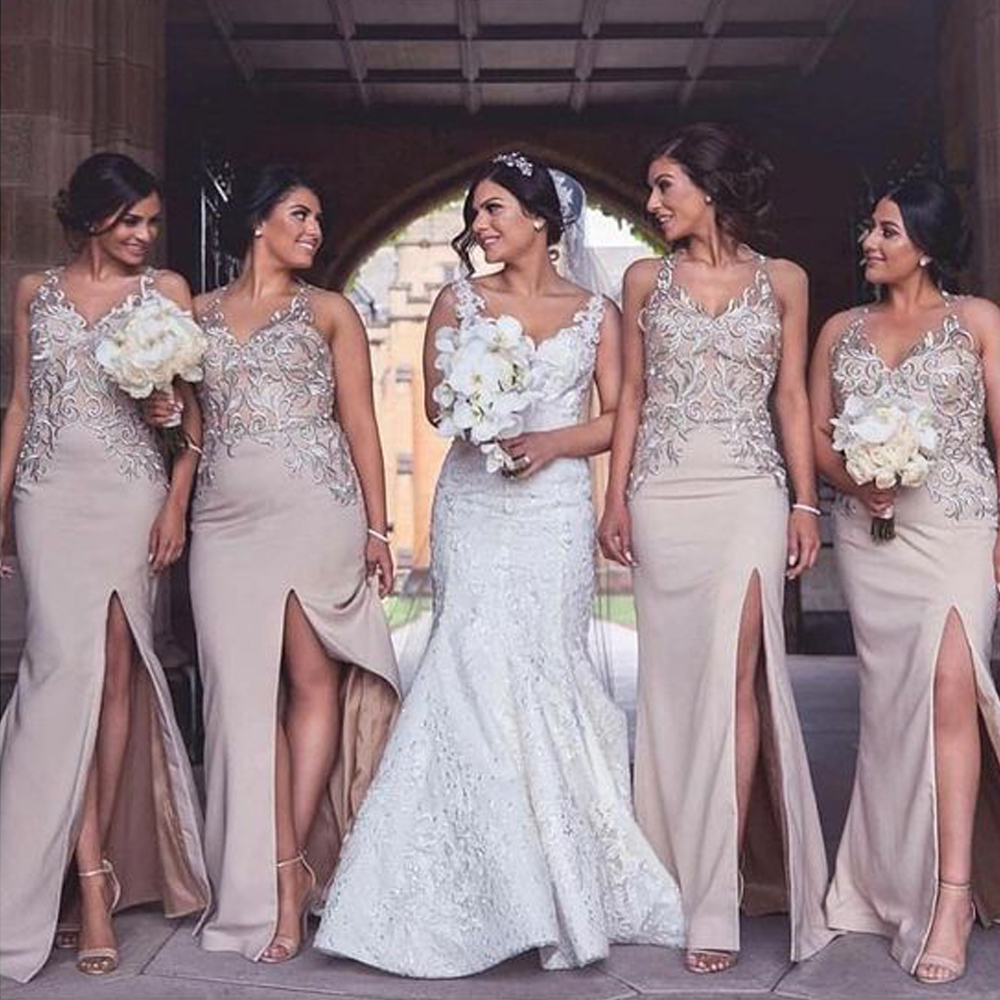 pink bridesmaid dresses 2020 lace side slit satin wedding party dresses lace mermaid party dresses for wedding(China)
