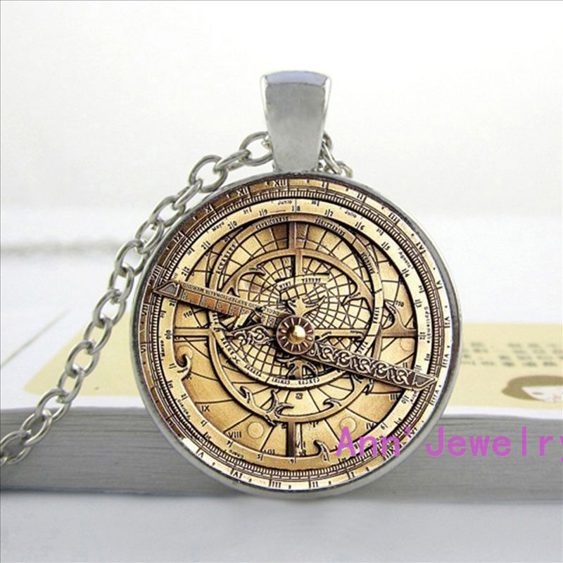 HZShinling Steampunk Drama Falls Mysteries BILL CIPHER WHEEL Pendant Necklace Glass Doctor Who Glass Mens Astrolabe Womens