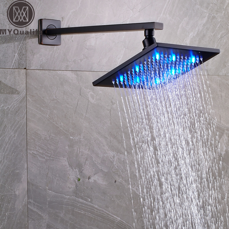 Free Shipping Brass Wall Mount Shower Head 8 led Light Square Rainfall Showerhead with Shower Arm pipe becoming batman the possibility of a superhero