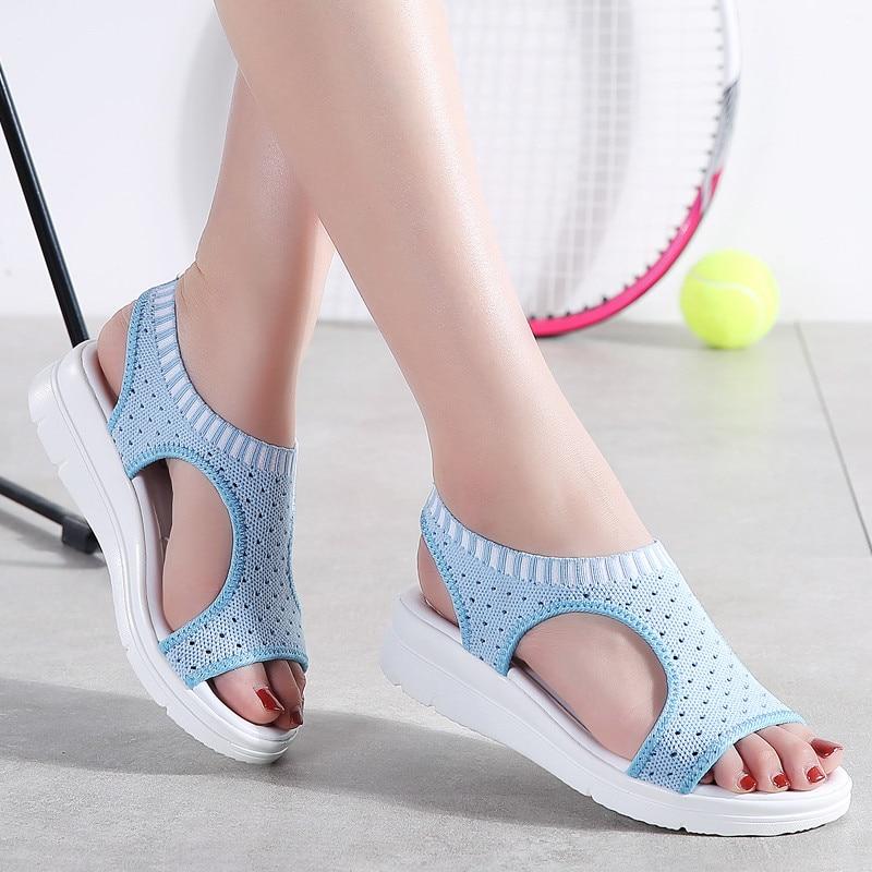 3de43de576db21 PINSEN Women Sandals 2019 New Female Shoes Woman Summer Wedge Comfortable  Sandals Ladies Slip on Flat Sandals Women Sandalias-in Middle Heels from  Shoes on ...
