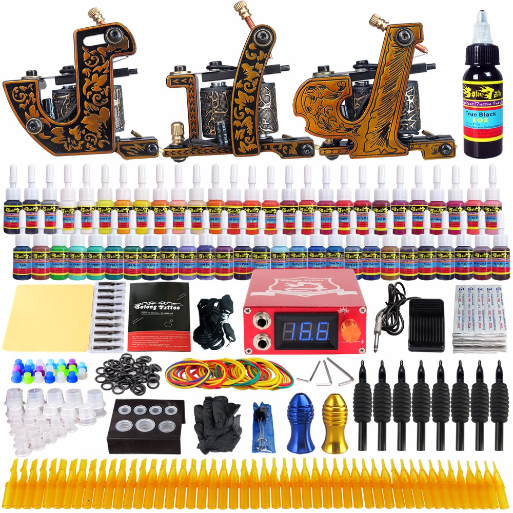 Solong Tattoo complete professional 3 tattoo Machine Guns set Tattoo Kit 54 Inks Power Supply Needle Grips power supply TKc03 solong tattoo complete tattoo kit set including tattoo machine gun inks power supply needles permanent makeup for liner