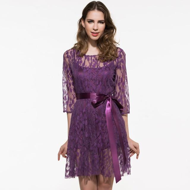 Kinikiss women lace dress 2017 spring summer dark purple lace up ...