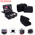 PLEEGA Brand Large Capacity Women Cosmetic Bag Portable  Makeup Artist Cosmetic and Makeup Tools Organizers Bag Women Makeup Box