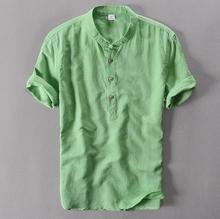 Męskie swetry lniane koszule z krótkim rękawem męskie jakości koszule na co dzień Slim fit stałe stójka bawełniane koszule męskie TS-155 tanie tanio MANDARIN COLLAR Linen COTTON JXKHOMN Suknem Pojedyncze piersi REGULAR Fashion