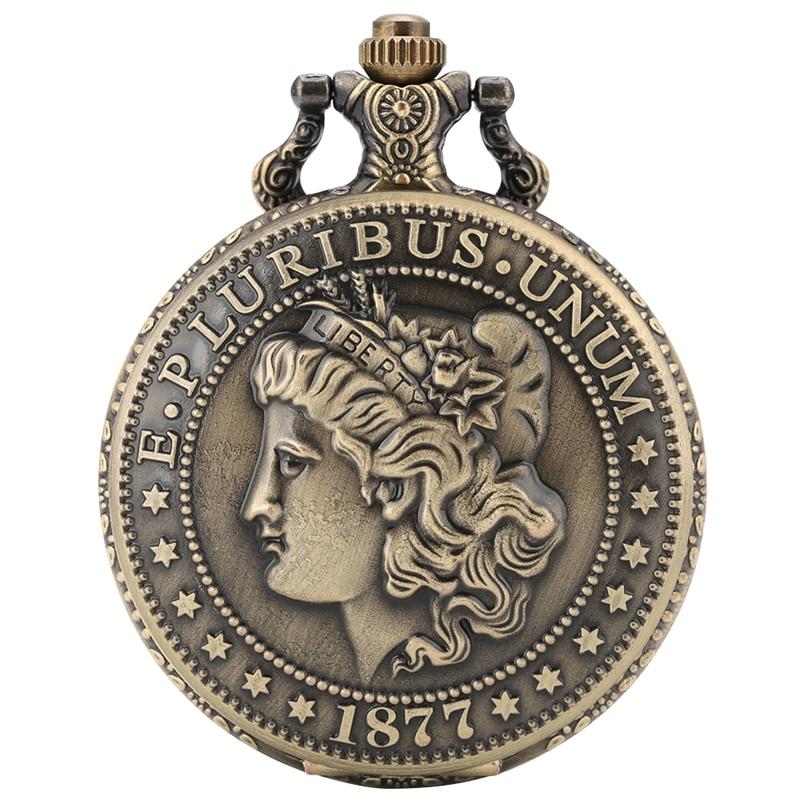 The United States Of America Spectacular 1877 Morgan Half Dollar Copy E PLURIBUS UNUM Bronze Replica Coins Quartz Pocket Watch