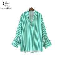 2017 New Fashion Casual Womens Green Striped Blouses Shirts Bow Gentle Regular Ladies Big Size Loose Shirts Blouses