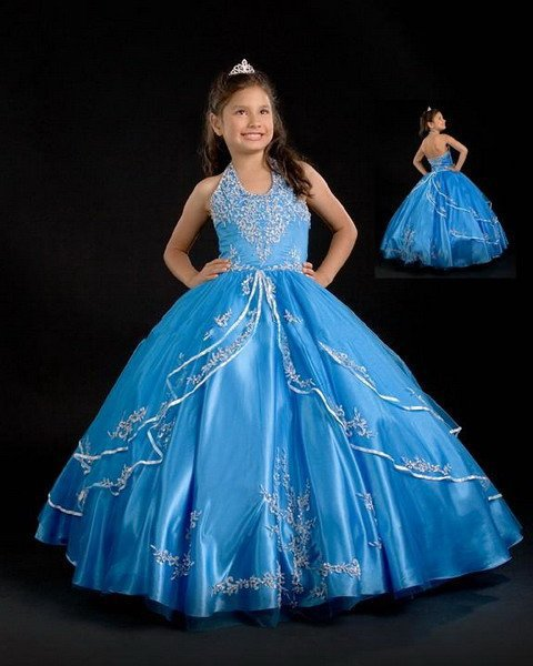 Royal Blue Cinderella   Dress   2015 Beaded Appliqued Long Halter   Flower     Girl     Dresses   Puffy Ball Gown Vestido De Daminha Organza