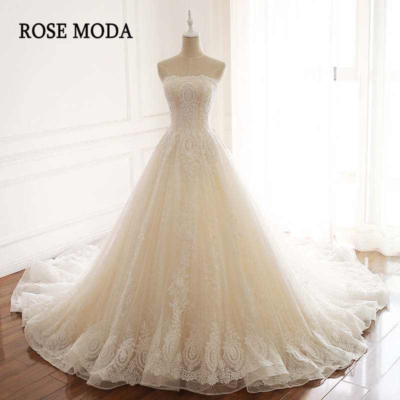Rose Moda Stunning Lace Wedding Dress 2019 Princess Wedding Ball Gown with 3D Flowers Real Photos