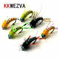 KKWEZVA 30PCS fishing fly lure Black hooks Bright Skin Material Nymph Spinner Dry Fly Insect Bait Trout Fly Fishing Flies