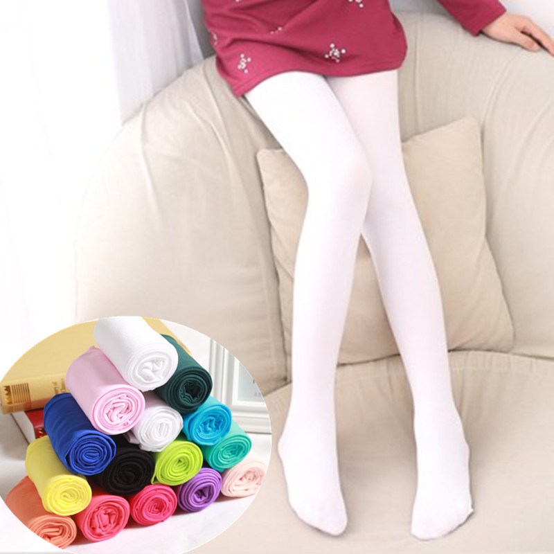 2-16 Year Spring Candy Color Kids Pantyhose Ballet Dance Tights For Girls Stocking Velvet Solid White Pantyhose Girls Tights