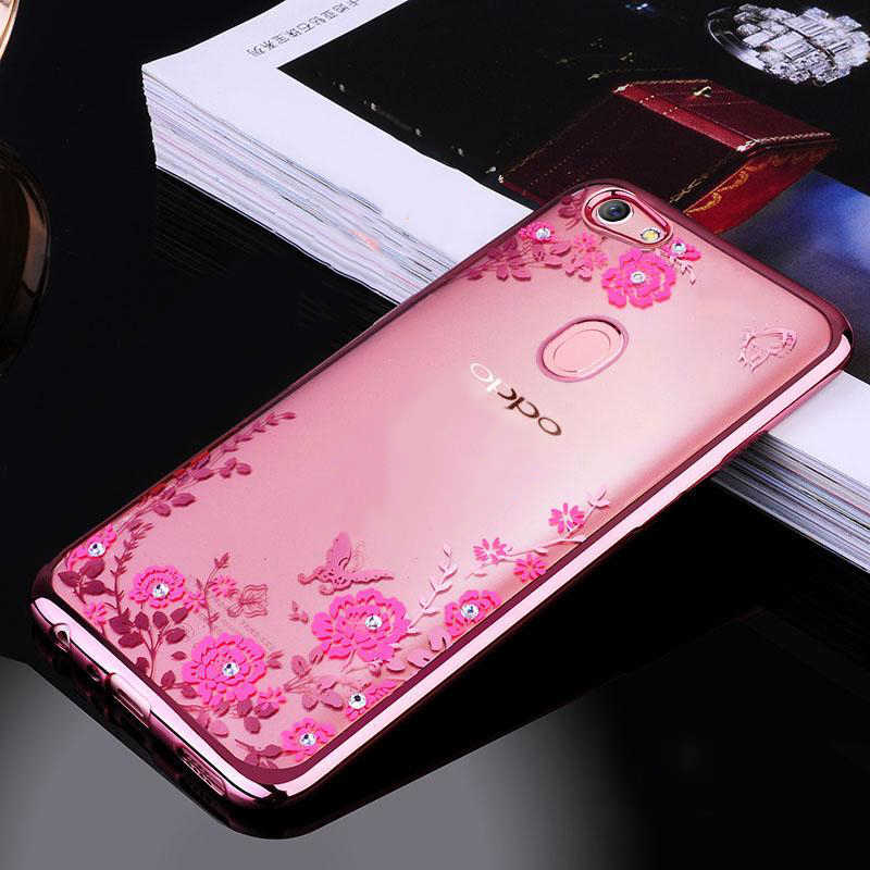 cheap for discount 30c18 82a3c F7 Case For OPPO F7 Phone Case Cover Thin TPU Glitter Flower Bling Silicone  Diamond Bumper Cover For OPPO F7 Phone Back Coque