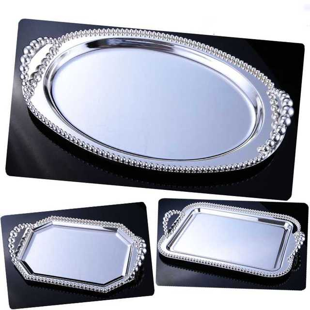 Kingart Silver Hotel Fruit Cake Plate Metal Dessert Serving Tray Party And Wedding