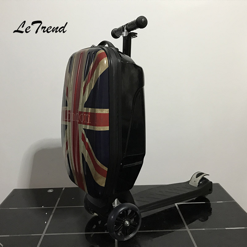 LeTrend Scooter Rolling Luggage Caster Creative Suitcase Wheels Travel Bag Skateboard Trolley Men's Handbag Carry On Trunk vintage suitcase 20 26 pu leather travel suitcase scratch resistant rolling luggage bags suitcase with tsa lock