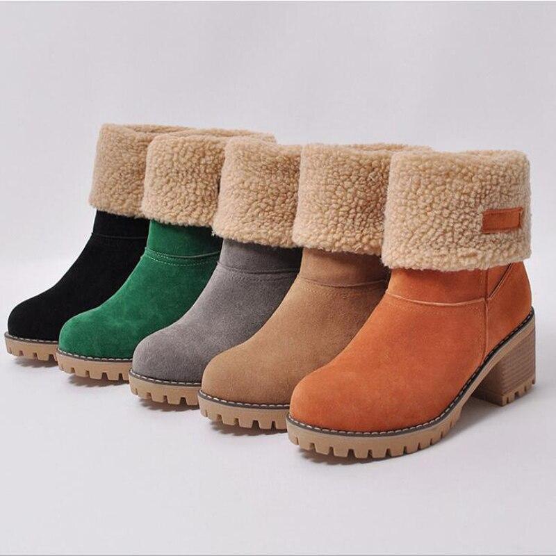 Новые женские ботинки; Зимние уличные теплые ботинки на меху; Водонепроницаемые женские зимние ботинки; Короткие ботинки на толстом каблук...