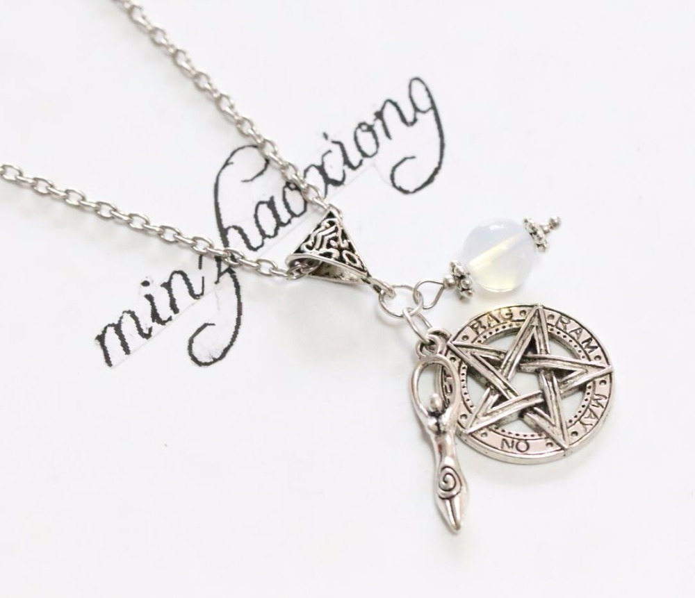Us 0 2 80 Off Pentagram Pendant Necklace Vintage Antique Silver Pentacle Fertility Dess Charm Wicca Pagan Jewelry Gift In