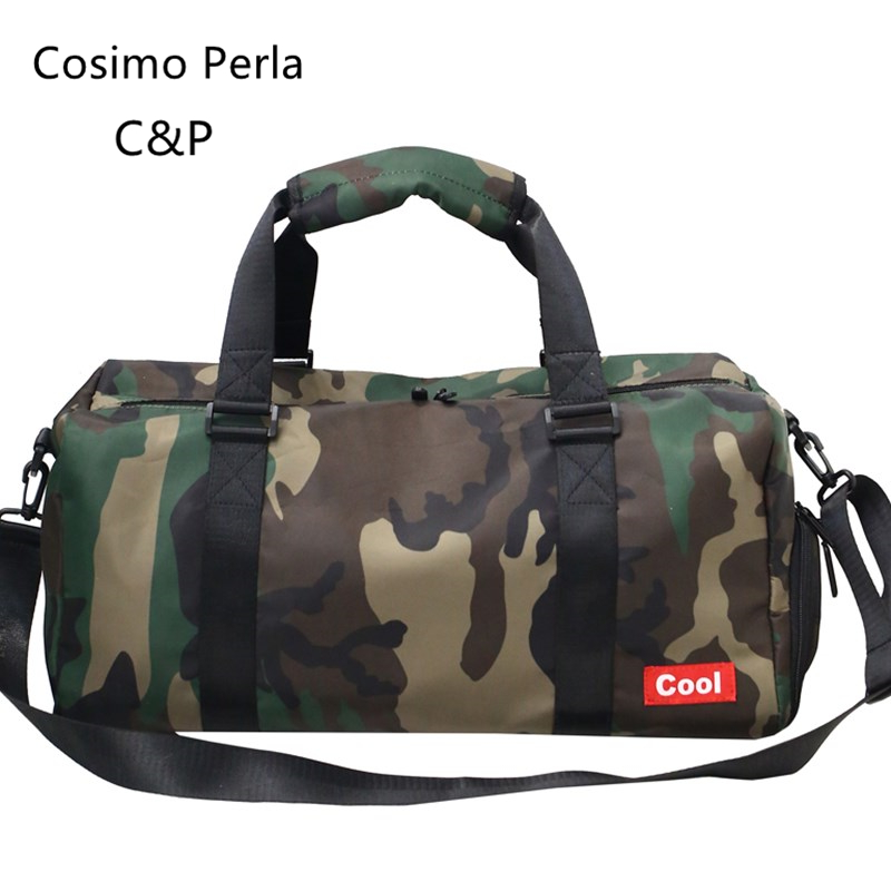 Japanese Trendy Camouflage Travel bags Waterproof Cylinder Nylon Duffel Carry Business Gym Overnight Weekender Boarding Handbags