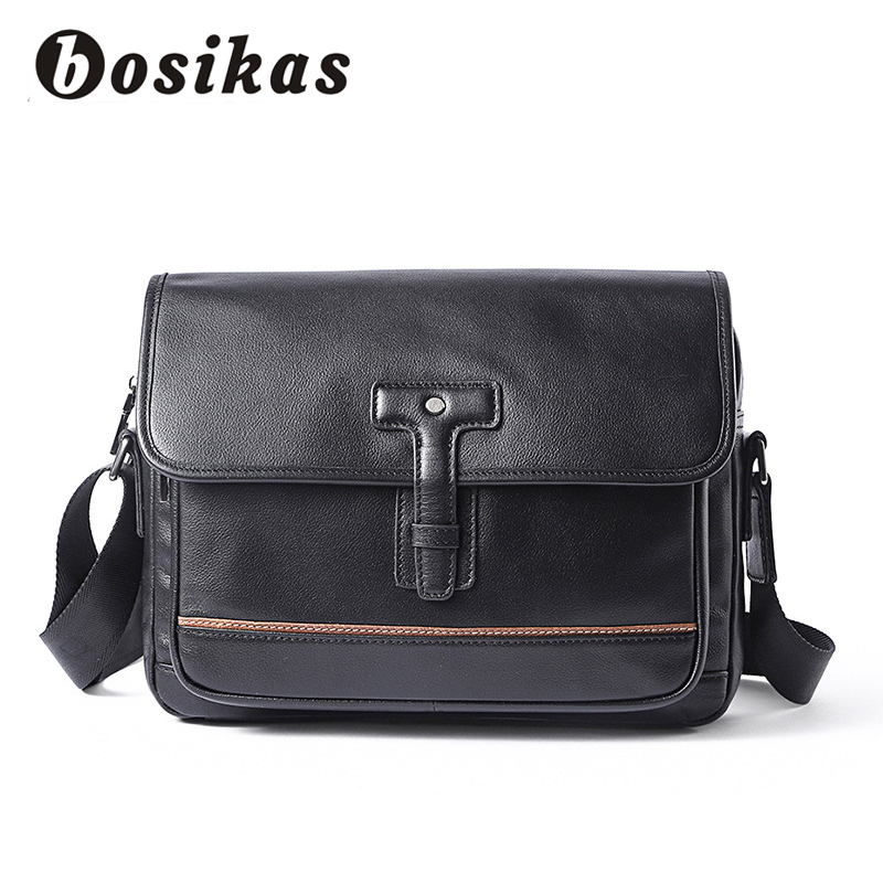 BOSIKAS Genuine Leather Men Bag Hasp Leather Crossbody Bag Shoulder Men Messenger Travel Bags Solid Color Fashion Borsa Da Uomo