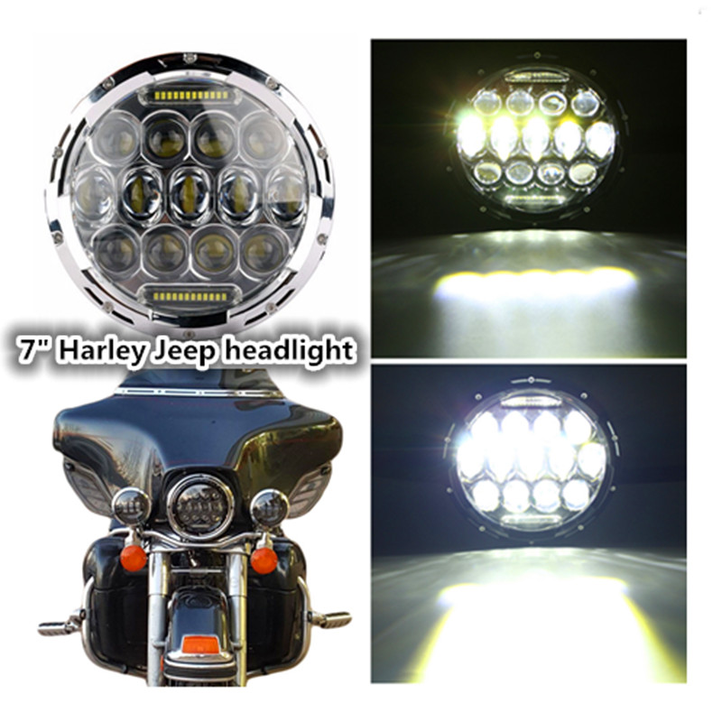 Round Hi/low Beam 75w 7 Inch Led Headlight 7 Round LED head light lamp with white DRL for Harley Motorcycle for Jeeep Wrangler