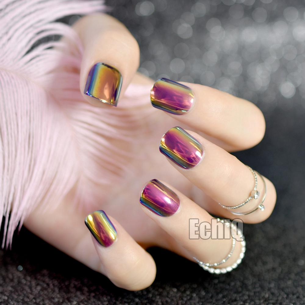 Short Chrome Fake Nails Dark Chemeleom Rose Pink Nails False Mirror ...