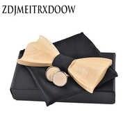 Novelty three-dimensiona Novel 3D wooden wedding suit tie knot Cufflinks tie square wooden package classic Wooden Ties Gravata