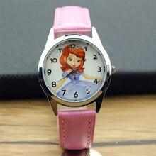 fashion Sophia princess lovely girls cartoon leather wristwatch women and boys high quality sports watch Xmas gift clock