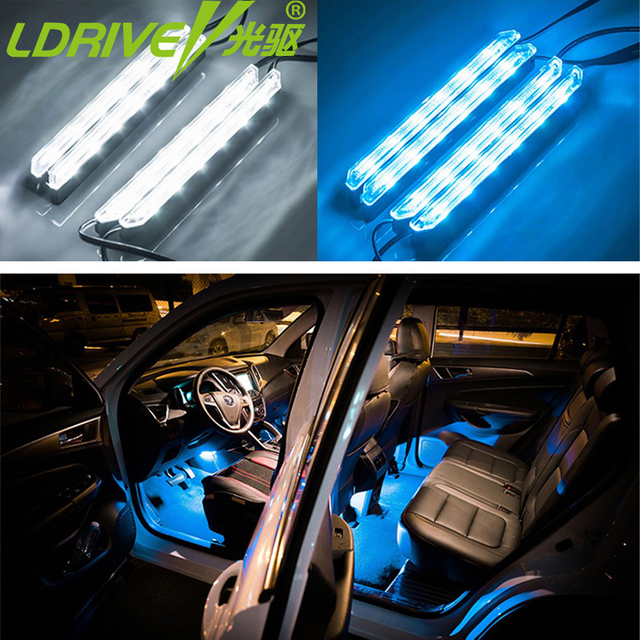 LDRIVE 4pcs/lot Car Styling LED Strip Light Car Foot Lights Night Safety  Decor Interior