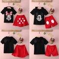 2016 Nuevo Bebé Niñas Niños Minnie Mouse Cartoon Minions Ropa Encapuchados Primavera Verano Top Negro + Pantalones de Vestir 2 Unids Conjuntos Traje