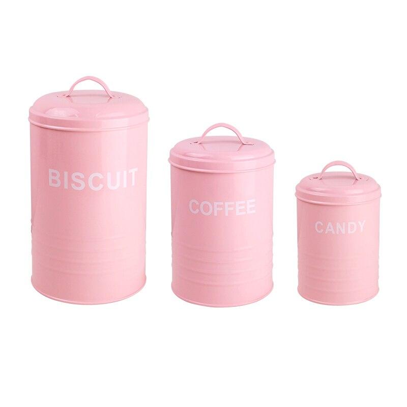 3 pièces/ensemble réservoir de stockage Biscuit bonbons thé café sucre carré ménage ustensiles de cuisine multifonction en acier qualité belle