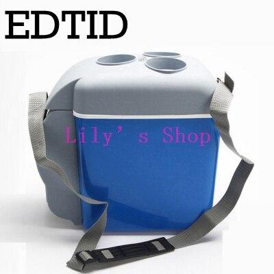 EDTID Mini Car Fridge Portable Auto household Refrigerator Travel Truck Cooler Box Freezer Office home food warmer 7L 220V 12V