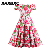XAXBXC 2017 Autumn Vestido Elegant Red Rose Leaf Floral Pints Strapless Pleated 1950s Vintage Swing Women Dress Evening Party