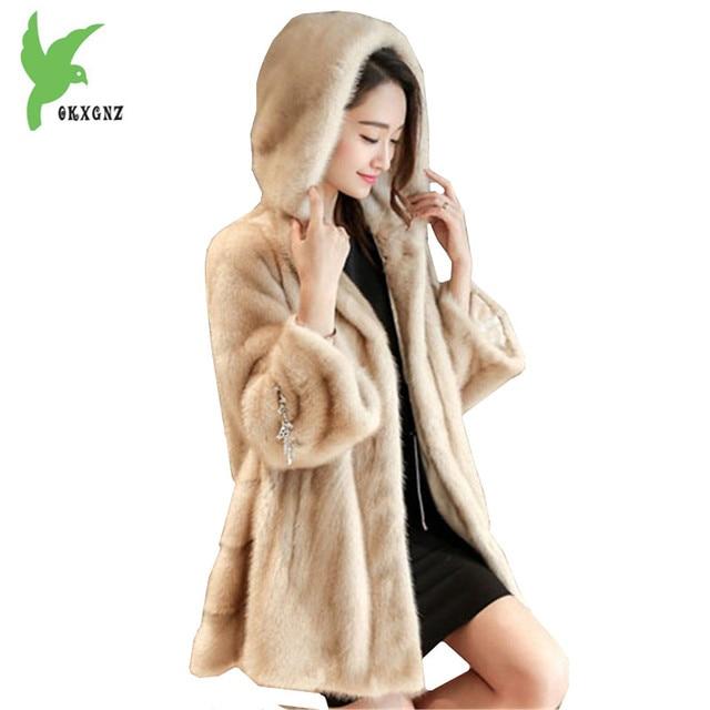 New Fashion Winter Women Faux Fur Jacket Coats Solid Color Hooded Mink hair Fur Jackets Plus Size Female Slim Outerwear OKXGNZ