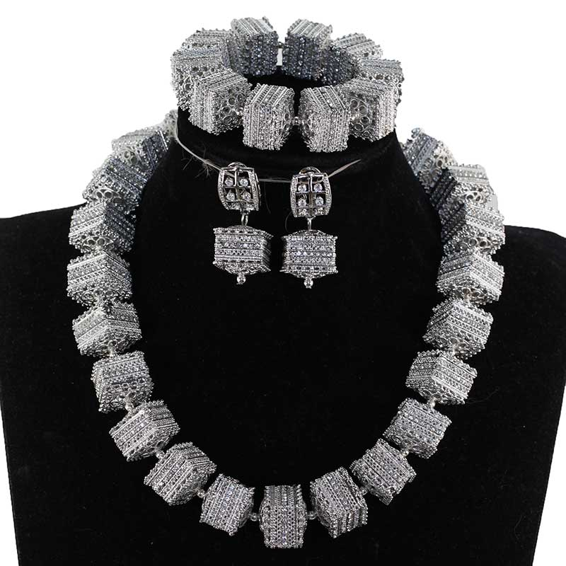 Nigeriano Beads Africanos Conjunto de Jóias Chunky Pendant Necklace WE200