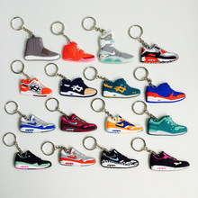 Mini Silicone Jordan Shoes Max 1 Keychain Sneaker Key Chain Woman Men Bag Charm Car Accessories Key Rings(China)