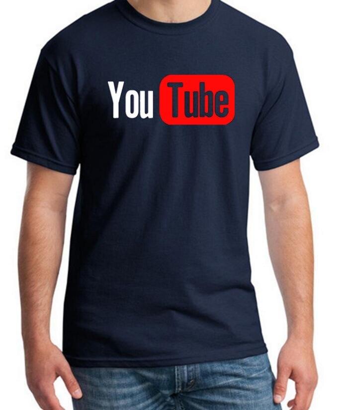 Youtube Logo Black Printed Cotton T-shirt Men with 4XL You Tube Men T Shirt Luxury Brand in Tee Shirt Gray Summer wearing