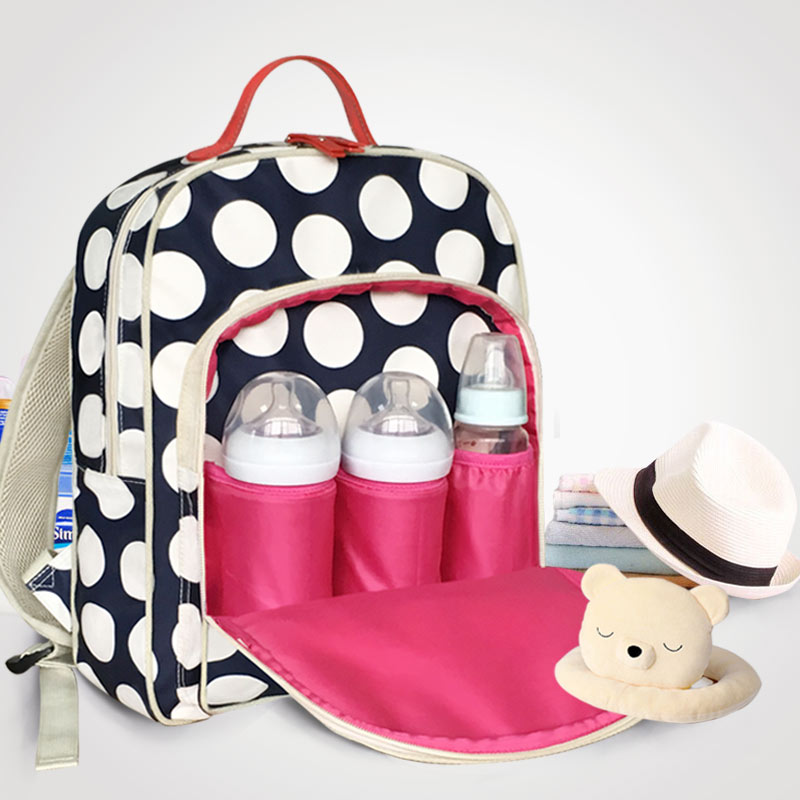 Waterproof dots mommy maternity baby nappy changing backpack Large capacity infant diaper bag Mutilfunction kids stuff organizer