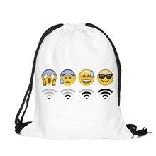 2016 new fashion Women Backpack 3D printing travel softback women mochila drawstring bag  Girls Backpack emoji wifi
