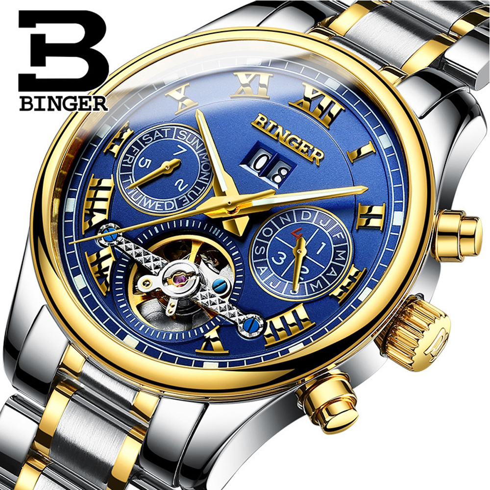 BINGER Mens Automatic Mechanical Watch Tourbillon Sapphire Luminous Business Automatico Wristwatch with box Relogio masculinoBINGER Mens Automatic Mechanical Watch Tourbillon Sapphire Luminous Business Automatico Wristwatch with box Relogio masculino