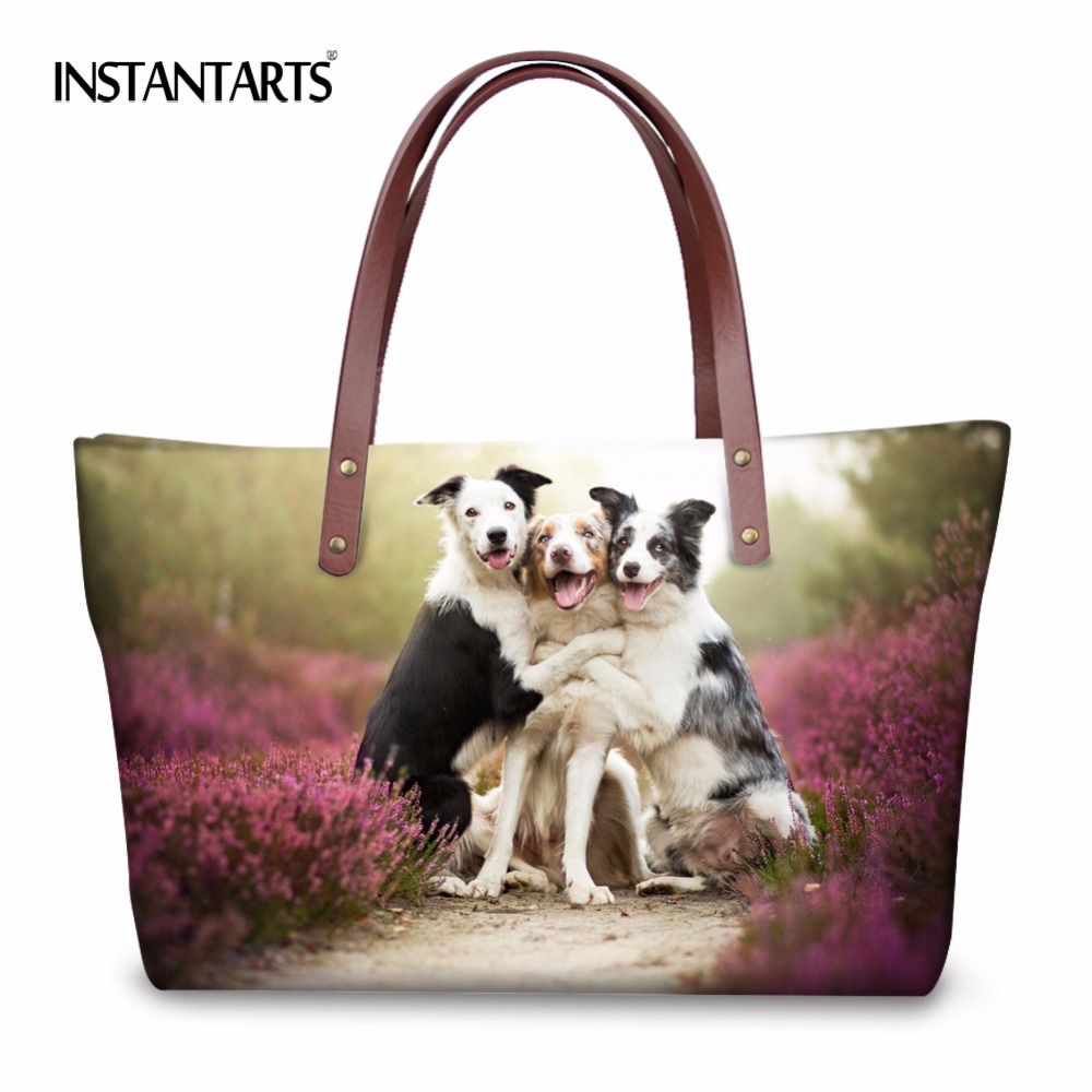 INSTANTARTS Women Large Capacity Shopping Handbags 3D Animal Dogs Cats Print Lady Travel Tote Shoulder Bags Brand Top Handle Bag