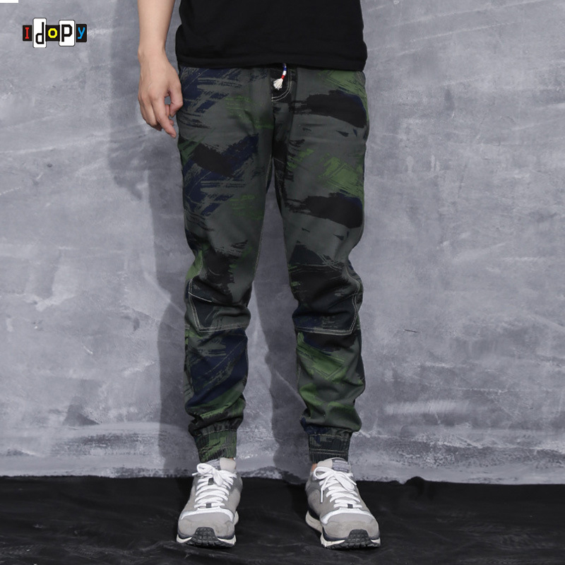 Fashion Men's Camo Joggers Pants Urban Style Mens Slim Fit Hip Hop Pants Drawstring Cuffed Trousers For Men