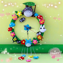Totoro Wall Clock Non-Woven Fabric Japanese DIY Felt Project Craft Kit Pattern & Supplies